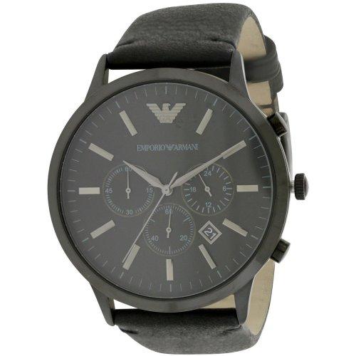 Emporio Armani Chronograph Black Leather Mens Watch AR2461