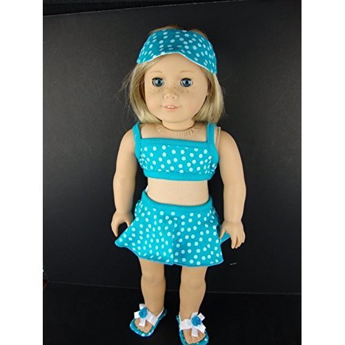 A Blue Polka Dot Swim Suit Bikini Top and Skirt Bottoms with Visor and Cloth Sandals Designed for 18 Inch Doll Like the American Girl Dolls