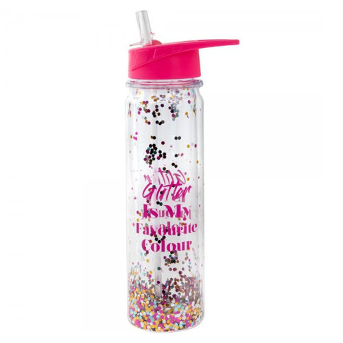 Glitter Water Bottle with Folding Straw and Slogan - Glitter is my Favourite Colour