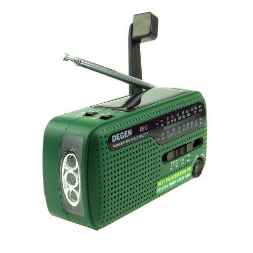 Crank Solar Radio - Degen DE13 FM AM SW Receiver Crank Dynamo Radio With Mobile Phone Charger Flashlight