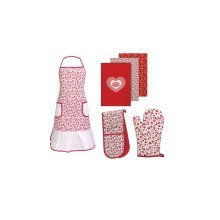 Red Daisy Oven Gloves, Apron And Tea Towels, Set Of 6