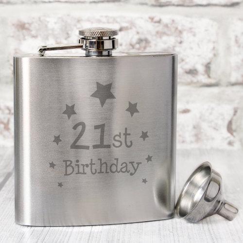21st Birthday Hip Flask