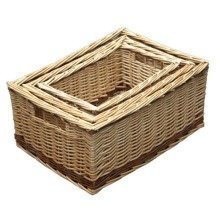 Set of 3 Buff Storage Wicker Baskets with Rustic Stripe