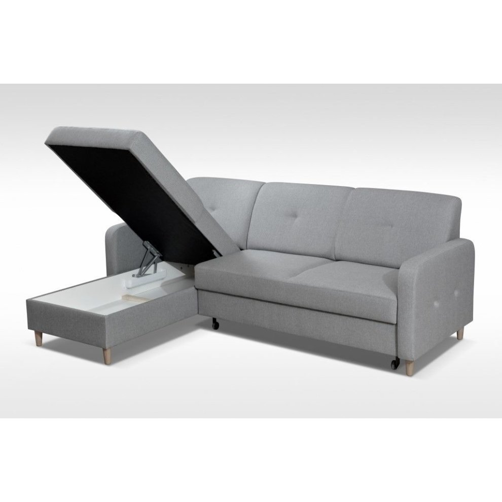 (Red) Left Corner Sofa Bed Malmo with Storage, Fabric on OnBuy