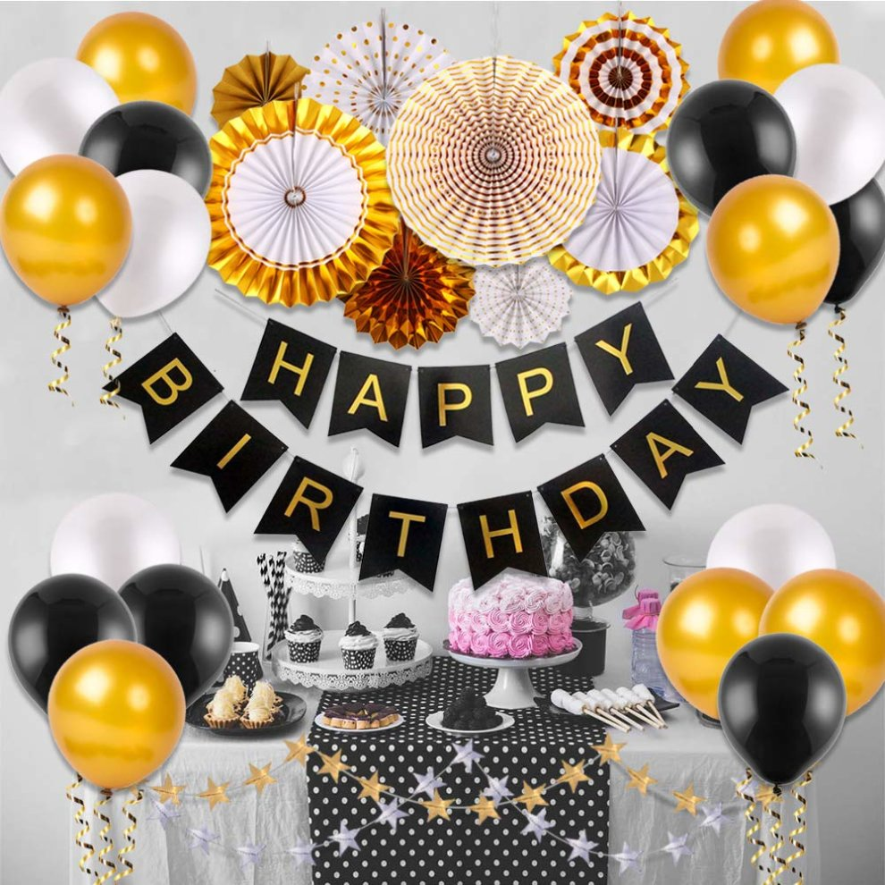 VEYLIN 31 Pack Black And Gold Party Decoration 18th Birthday