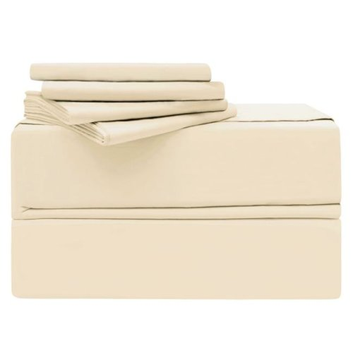 Simply the Best YMS008196 Luxury 620 Thread Count 100 Percent Cotton Sheet Set, Ivory - King - 6 Piece
