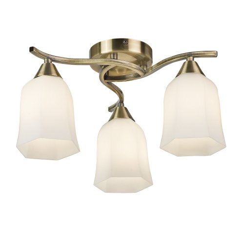 Traditional 3 Arm Ceiling Light With Hexagonal Glass Shades