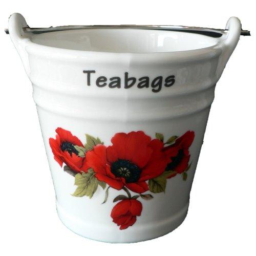Poppy Design Bucket Teabag Tidy, Porcelain Bucket Teabag Tidy