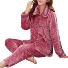 Casual Pajama Set Warm Sleepwear Home Apparel Flannel Pajamas X-large-A5