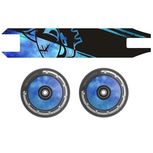 Combo Pair Team Dogz Blue Galaxy Scooter Wheels 100mm Hollow Core + Grip Tape