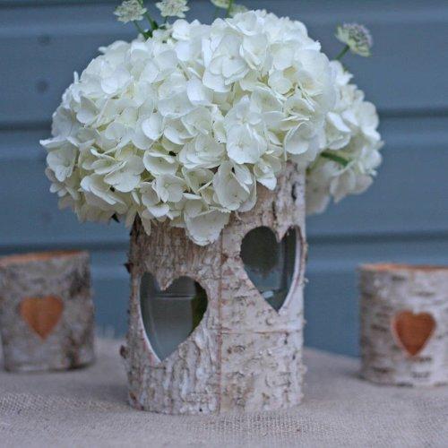 11cm Tall Silver Birch Heart Lanterns