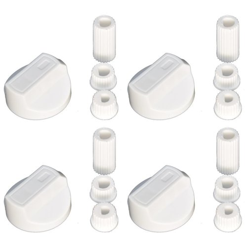 Universal Cooker Oven Grill Control Knobs And Adaptors White Fits All Gas Electric x 4