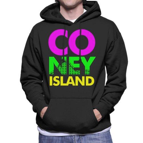 Coney Island Retro Colour Text Men's Hooded Sweatshirt
