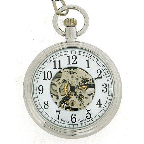 "Boxx Gents Silver Metal White Dial Mechanical Pocket Watch 12"" Chain Boxx307"