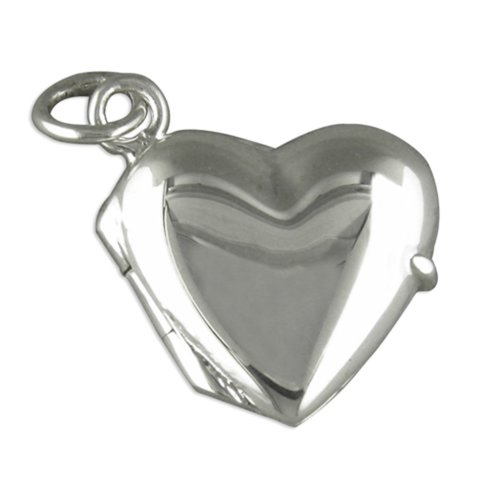Childrens Sterling Silver Small Plain Heart Locket On A Curb Necklace
