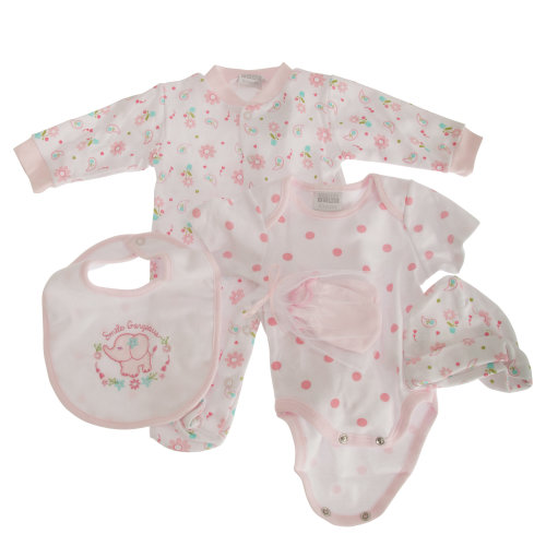 Nursery Time Baby Girls 5 Piece Floral Gift Set