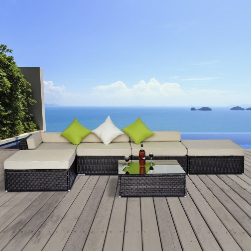 18pc Rattan Garden Furniture Set | Brown Rattan Sofa Set