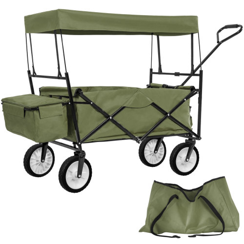 Foldable pull along trolley with roof incl. carrying bag green
