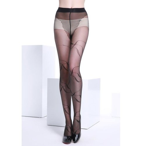 20 Denier Ultra Sheer Summer Black Fashional and Sexy Woman Pattern Jacquard Core-spun Silk Pantyhose Tights Stocking