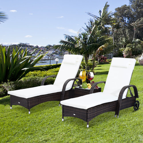 Outsunny Rattan Recliner Lounger Set-Brown