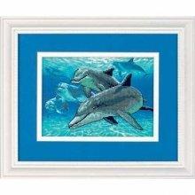D06944 - Dimensions Stamped X Stitch - Mini -  Deep Sea Dolphins