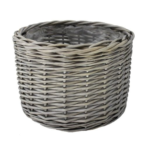 Large Round Antique Wash Wicker Planter