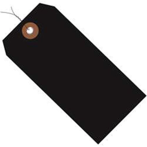 Box Partners G26058W 6.25 x 3.12 in. Black Plastic Shipping Tags - Pre-Wired - Pack of 100