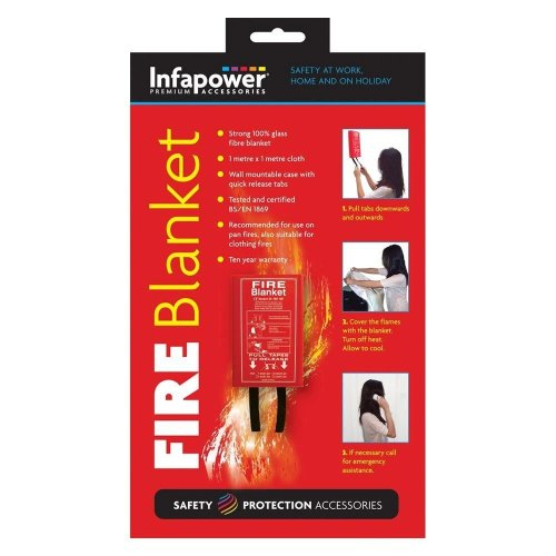 Infapower X012 Safety Emergency 1m Wall Mountable Glass Fibre Fire Blanket