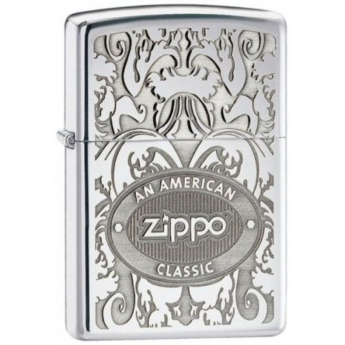 Crown Stamp Gleaming Patina High Polish Chrome Zippo Lighter