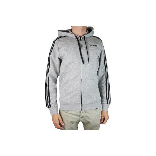 Mens Grey Sweatshirt 3 Fullzip Essentials Du0476 Adidas Fleece Stripes TlFK1cJ