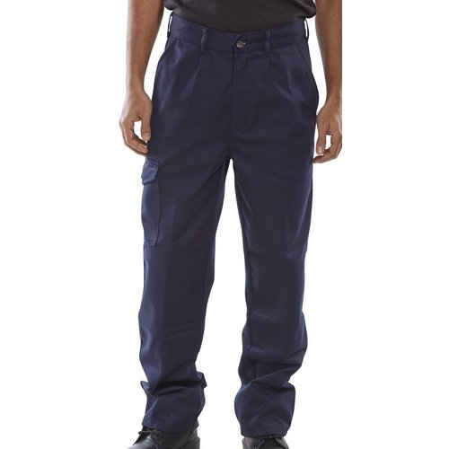 """Click PCT9N30T Polycotton Work Trousers Navy Blue 30"""" Long"""