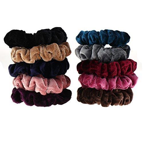 Yiphates 10 Pack Colorful Hair Scrunchies Velvet Scrunchy Bobbles Soft Elastic Hair Bands for women girls 10 Colors