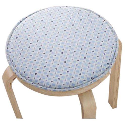 Creative Round Stool Cushion Warm Sponge Pad Bar Stool Mat Blue Flowers