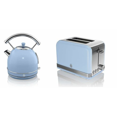SWAN RETRO Blue 1.7 Litre Dome Kettle & Blue 2 Slice Toaster Set