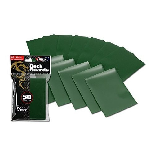 100 Premium Green Double Matte Deck Guard Sleeve Protectors for Gaming Cards like Magic The Gathering MTG, Pokemon, YUGIOH, & More.