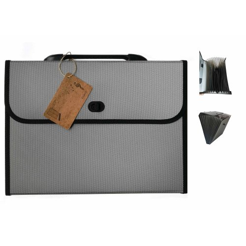 EIGenS 12 Pockets Expanding File Folder with Handle - A4 Size Expandable File Organizer File Folder Wallet Briefcase Documents Filing Box(Grey)