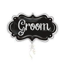 Groom Chalkboard Marquee SuperShape Foil Balloons 11/27cm w x 34/86cm h - P35