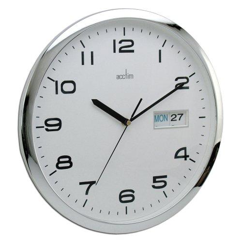 Acctim Supervisor Wall Clock, Chrome/White, 320 mm
