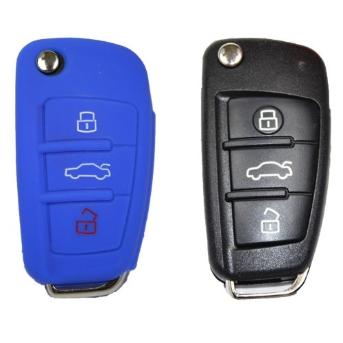 Audi Car Key 3Buttons Remote Control Key Fob Key Cover Tablet Case–Blue–Cover–