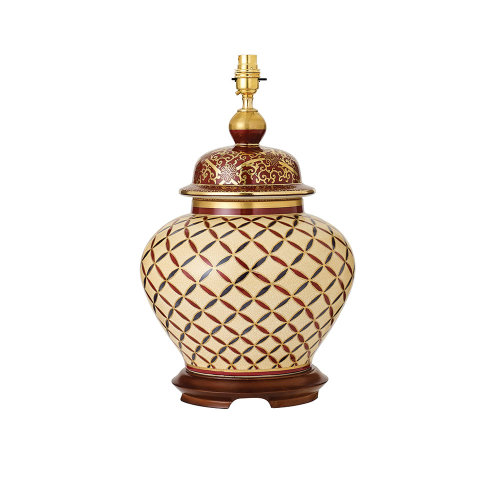 Cross Stitch Hand Painted Table Lamp With Gold And Mahogany - Base Only - Interiors 1900 RJ344