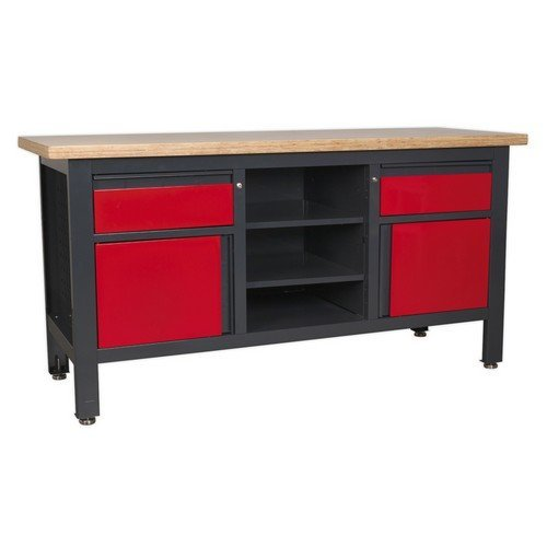 Sealey AP1905A Workstation with 2 Drawers, 2 Cupboards & Open Storage