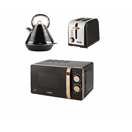 Tower Rose Gold Black Manual Microwave, Pyramid Linear Kettle, 2 Slice toaster