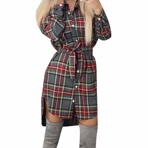 Lady Plaid Tie Dress Sexy Slim Long Sleeve Button Casual Plaid Tie Shirt Romper Dress Moda Feminina