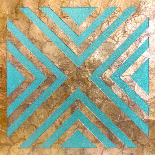 WallFace LU06 wall panel shells glass beads mother-of-pearl turquoise bronze