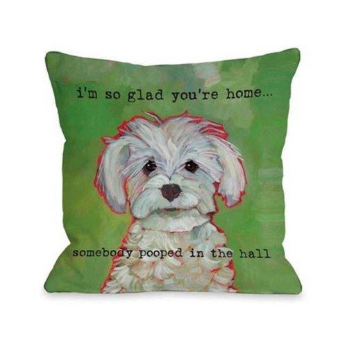 One Bella Casa 72166PL16 Somebody Pooped Pillow by Ursula Dodge