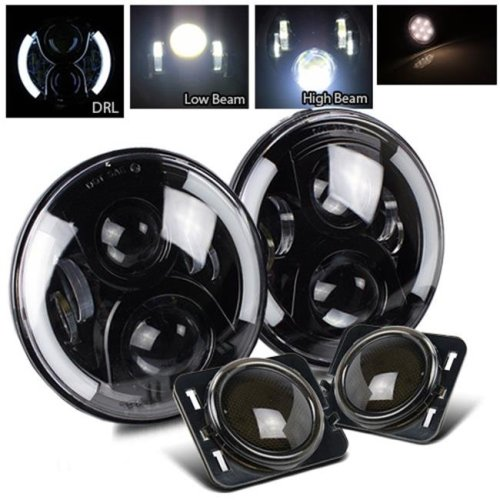 TurboMetal 7 in. Round Cree Black LED Projector Headlight for Jeep JK TJ LJ CJ - Smoke White