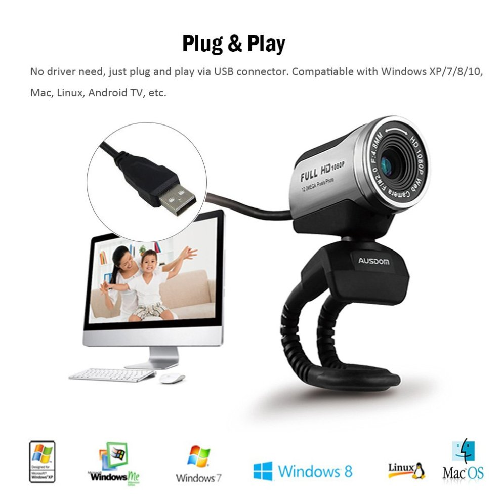 USB Webcam 1080P, AUSDOM 12 0M HD Camera Web Cam with Built-in Microphone  Clip-On for Laptop Desktop Computer PC Skype Vedieo Call & Recording,