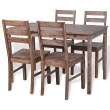 vidaXL Five Piece Dining Set Solid Acacia Wood