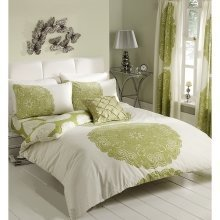 Manhatten lime green cotton blend duvet cover