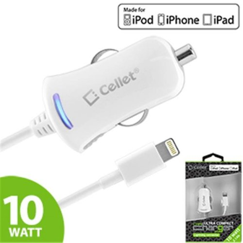 Cellet PAPP5Y 10 Watt Lightning 8 Pin Ultra Compact, Super Fast Car Charger - White
